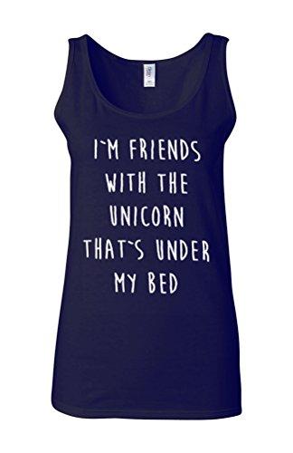 I Am Friends With The Unicorn Novelty White Femme Women Tricot de Corps Tank Top Vest Bleu Foncé