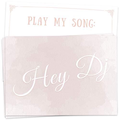 50 Musikwunschkarten zart rosé/pastell, DJ-Karten für Hochzeit, Geburtstagsfeier, Party, Silvester, etc, größere Musik-Vielfalt durch individuelle Gäste-Wünsche - hochwertiger Premium-Karton, DIN A7