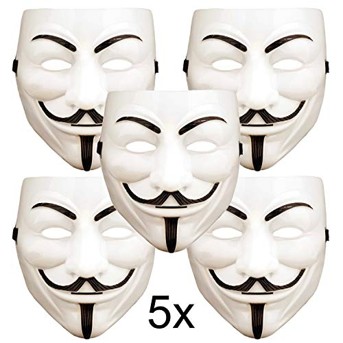 ART DECOR Germany 5X V wie Vendetta Maske, Guy Fawkes Maske, Anonymous Maske, weiß (V For Vendetta Kaufen)