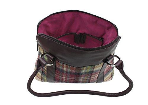 Borsa Tracolla in Pelle e Tweed Mala Leather Collezione ABERTWEED 719_40 Punto marrone Prugna