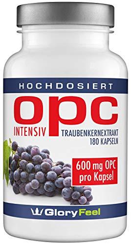 OPC Traubenkernextrakt Kapseln 600mg Intensiv – Der VERGLEICHSSIEGER 2017* – 180 vegane Kapseln mit 95% OPC Gehalt plus Vitamin C – Laborgeprüft ohne unerwünschte Zusätze hergestellt in Deutschland