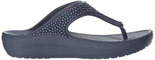 204181 Crocs Sloane Embellished Flip - 0C4 Black Multi Navy/Turquoise