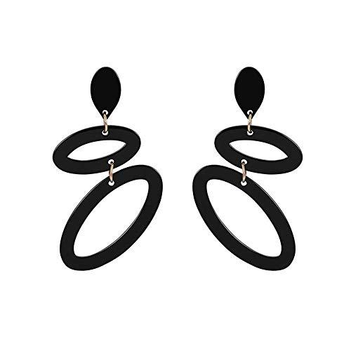 Andouy Modedame Ohrringe Geometrischer Kreis Anhänger Ohrringe Schmuck(Schwarz)