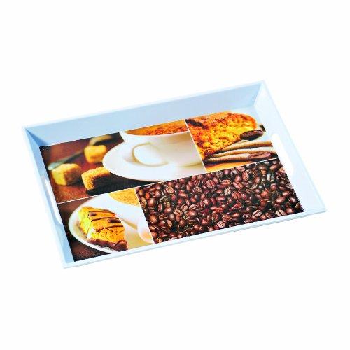 Kesper 77367 Serviertablett, aus Melamin, Motiv - Kaffee, Maße - 41 x 30 x 4.5 cm