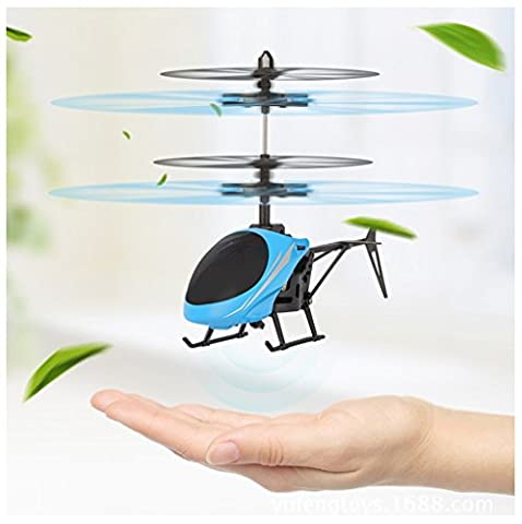 Mini Flying Helicopter, Rcool Creative Hand Suspension RC Helicopter Aircraft Infrared Sensing Induction Flying Drone Toy with Colorful LED Lighting Flashing for Kids and Adults (Sky Blue)