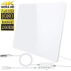 [2019 Version Améliorée] HD Antenne TV, Antenne Intérieure 200KM- Gamme Amplificateur Intellectuel Signal, Convient aux 1080P 4K Chaînes Télévision Gratuites,5 Mètres Câble Coaxial (Blanc)
