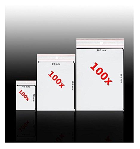 Preisvergleich Produktbild 300 St. Druckverschlussbeutel Set, Sortiment mit drei Größen Plastik Tütchen