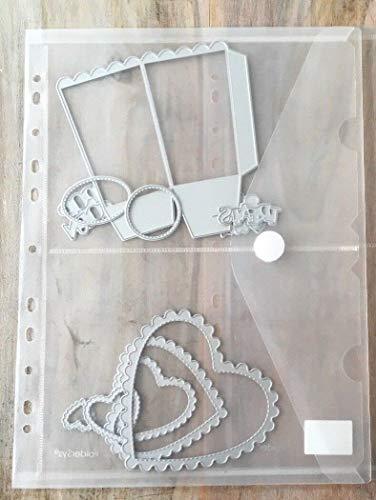 Simplelettering 3X Sichttasche A4 mit A5 Fächern zur Aufbewahrung Stanzschablonen Cutting Dies