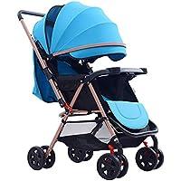 LjfⓇHot Mom Passeggino Passeggino Pieghevole Compatto e Leggero, Passeggino a Due Vie Portatile per passeggini Neonati dalla Nascita Fino a 15 kg, Blu