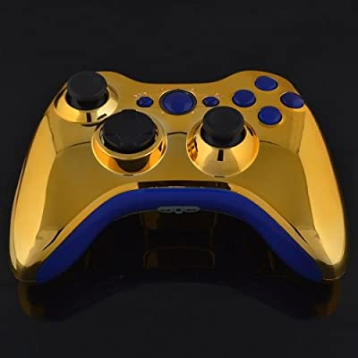 Xbox 360 Wireless Controller - Chrome Gold with Blue Buttons