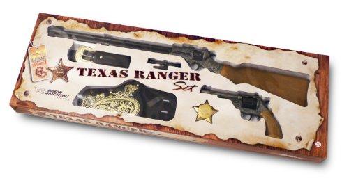 as Ranger Set, Halfter mit Gürtel, Revolver und Gewehr und Stern (Texas Ranger Kostüme)