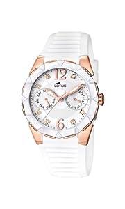 Lotus 15866/1 - Reloj analógico de cuarzo para mujer, correa de goma color blanco (agujas luminiscentes)