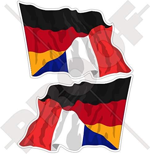 DEUTSCHLAND-FRANKREICH Deutsch-Französisch Wehende Flagge, 120mm Auto & Motorrad Aufkleber, x2 Vinyl Stickers (Links - Rechts) -