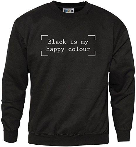 Black is my Happy Colour-Fashion hipster Moody-giovanile e felpa da uomo Black 12-13 Anni