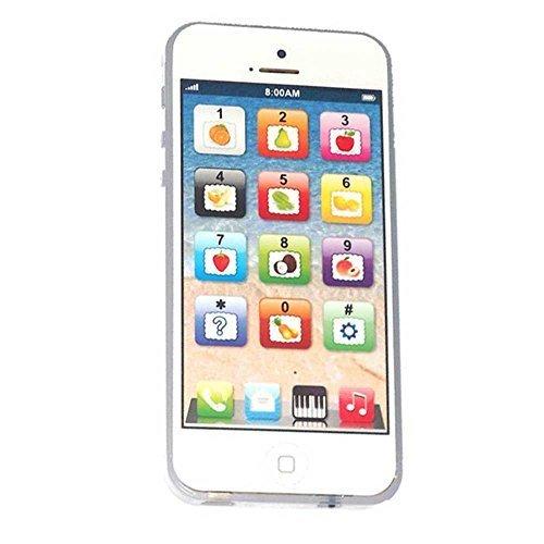 Cooplay English Yphone Teléfono móvil de juguete para niños, incluye cable micro USB de carga, pack de 1 unidad, juegos y música, color blanco