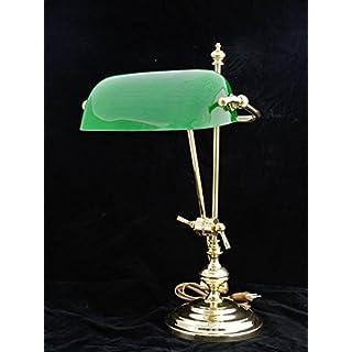 Antike Fundgrube Bankerlampe Tischlampe aus Messing mit grünem Glasschirm (3900)