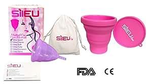 Coupe menstruelle Modèle Sport + Stérilisateur Pliable Couleur rose ou bleu - Taille L - Femmes qui ont eu des enfants et/ou qui ont plus de 25 ans - 1 Unité
