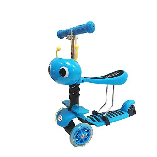 Minmin Kinder-Roller 3-Rad-Blitzrad Hand Push-Roller 2-8 Jahre alt Kindersitz Schaukel Auto Multifunktions-Tretroller (Farbe : Blau)