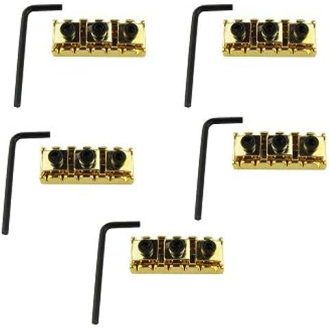 Musiclily bloqueo de cuerdas de la guitarra del metal de 42 mm tuerca de fijación para el sistema de bloqueo del puente del trémolo de la guitarra eléctrica doble, Oro ( Pack de 5)