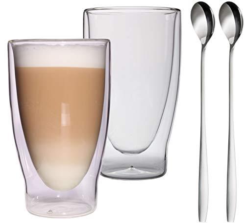 Feelino Aktion: 2X 400ml XXL doppelwandige Latte Macchiato Gläser + 2 Löffel, Eistee und Longdrinkgläser Lattechino Grande, edle extra große Thermogläser mit Schwebeeffekt inkl. 2X Edelstahl-Löffel