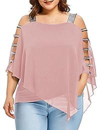 CICIYONER Blusa Mujer Talla Grande, Camiseta Hombros Descubiertos Camisetas Tallas Grandes Mujer