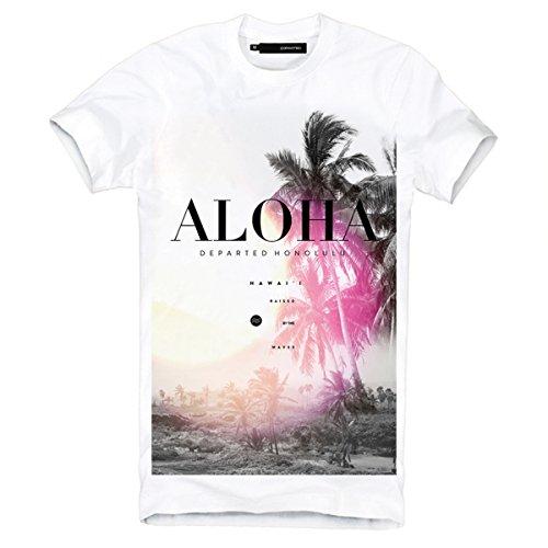 DEPARTED Herren T-Shirt mit Print/Aufdruck 3767-020 - New fit Größe L, White (Herren Hawaii-aloha-shirt)