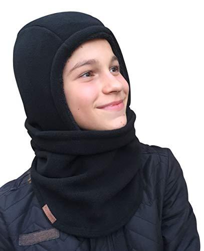 Hilltop Polar Balaclava/Sturmhaube/Gesichtsmaske mit Teddy-Fleece für Kinder bzw. Jugendliche, Farbe/Design:Schwarz -
