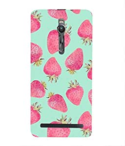 For Asus Zenfone 2 ZE551ML -Livingfill- Strawberry Art Print Printed Designer Slim Light Weight Cover Case For Asus Zenfone 2 ZE551ML (A Beautiful One of the Best Design with a Classic Theme & A Stylish, Trendy and Premium Appeal/Quality) (Red & Green & Black & Yellow & Other)