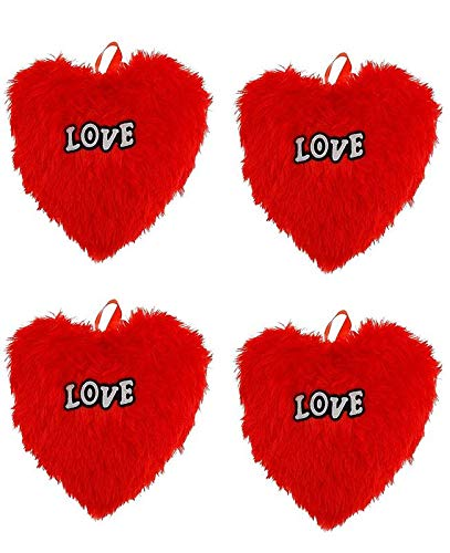 idecor Soft Cute Red Heart Shape Pillow Combo of 4 for Return Gift for Kids - Gifts for Valentine - Size 30x20 cm