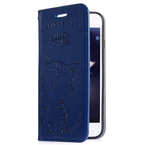 Uposao Kompatibel mit Samsung Galaxy A40 Handyhülle Katze Fisch Muster Retro Handy Tasche Schutzhülle Wallet Flip Case Cover Brieftasche Klapphülle Leder Hülle Leder Tasche,Dunkelblau