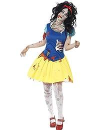 Smiffys, Damen Zombie-Snow Fright Kostüm, Kleid mit Latex Brustteil und Haarband, Größe: L, 23352