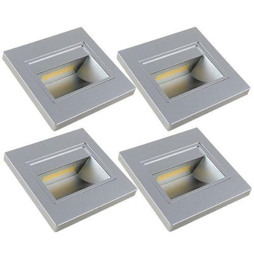 4X MENGS 1W COB LED DA PARETE & Scale Illuminazione Lampada della luce di notte & lampadina LED luce scale (bianco freddo 6000K, Angolo 140º, 110V–260V AC) Luce a Risparmio Energetico argento