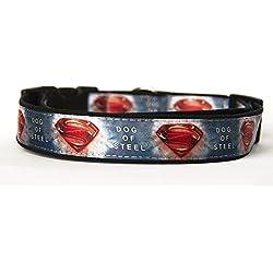 Superman Dog Of Steel Collar Perro Hecho a Mano Talla XL sin Correa Dog Collar HandMade
