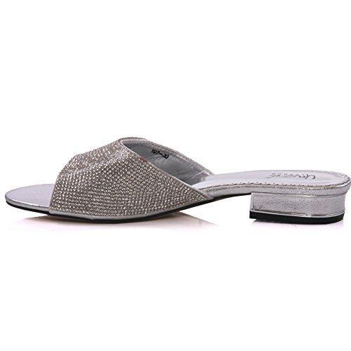 Unze Semi ' pantofole Detailing strass Womens Argento