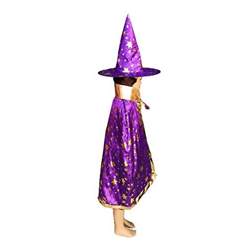 Asnlove Kinder Kostüm Zauberer Set mit Hut Design Funkelnde Sterne Lila (Lila Kapuzen Umhang)