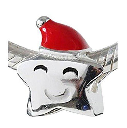 ANDANTE-Stones 925 Sterling Silber Bead Charm Christmas Star Weihnachtsstern Element Kugel für European Beads + Organzasäckchen