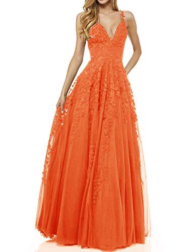 LuckyShe Damen Sexy V-Ausschnitt Abendkleider Ballkleid Elegant für Hochzeit Lang 2018 Orange...