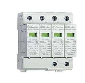Finder 7P2582751020 - Limitatore di sovratensione tipo 2 varistor, sezionabile 4 poli, trifase 230/400 V, controllo visivo/segnalazione remota