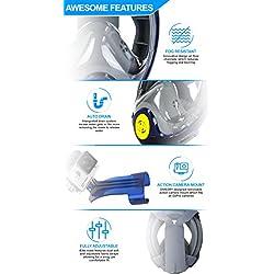 2018 Tuba Mask- Divedry Elite Leading- Edge Motif Easybreath la plongée avec tuba Masque complet + anti-buée et anti-fuite Innovation, compatible pour GoPro Caméra d'action