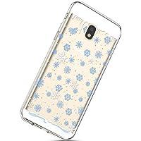 Handytasche Samsung Galaxy J5 2017 Weihnachten Silikon Hülle Crystal Clear Durchsichtige Hülle Ultradünn Transparent Handyhüllen TPU Bumper Case Cover,Blau Schneeflocken