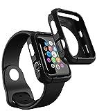 Apple Watch Hülle 42mm, iDudu Silikon Schutzhülle Case Cover für Apple Watch Series 1 / 2 / 3 (Schwarz)