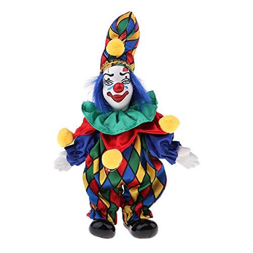 Halloween Clown Puppe Kostüm Porzellanpuppe aus Porzellan & Stoff Dekoration - # 3 ()
