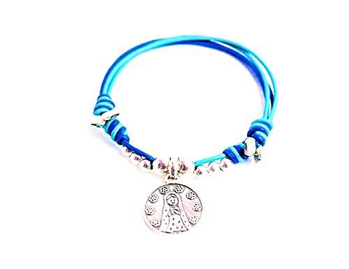Kokomorocco Pulsera Medalla comunión Virgen niña de Plata de Ley y Cuero de Colores (Azul) Regalos Originales
