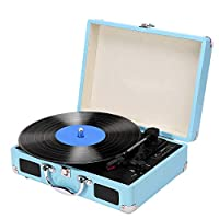 Record Player,3 Speed Bluetooth Turntable for Vinyl Records with Speakers,Portable Briefcase Style Supports Vinyl-To-MP3 Recording,Headphone Jack,RCA Output,Aux Input and USB/SD Encoding