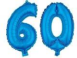 Alsino XXL Folienballons Luftballon Heliumballon Zahlenballon Ziffern 18-90 Verschiedene Farben 80 cm Party Geburtstag Hochzeit, Variante wählen:60, Variante wählen:Blau