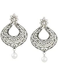 Zaveri Pearls Silver-Toned Chandbali With Pearl Drop Earring For Women-ZPFK6679