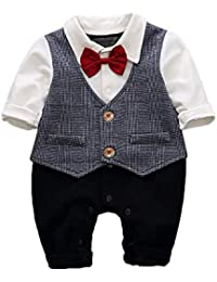 Hopscotch Baby Boys Cotton Bow Applique Full Sleeves Romper in Gray Color
