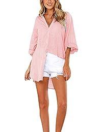 86a3dd62b2 GUOCU Mujer Blusa Escote en V Botón Dobladillo Irregular Camisa De Manga  Larga Elegante Color Sólido