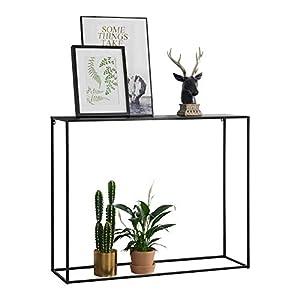 [en.casa] Konsolentisch Beistelltisch 92x115x32 cm Wohnzimmertisch Industrie-Design Metall Schwarz