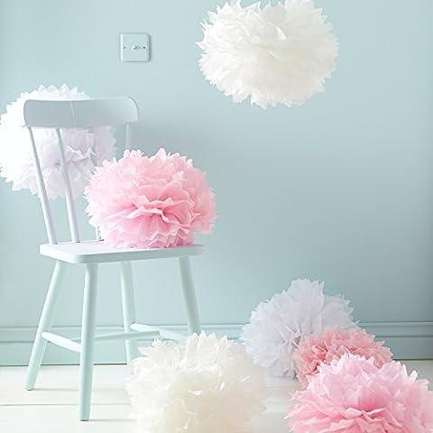Assortiment de 9 Pompons Roses, Blancs et